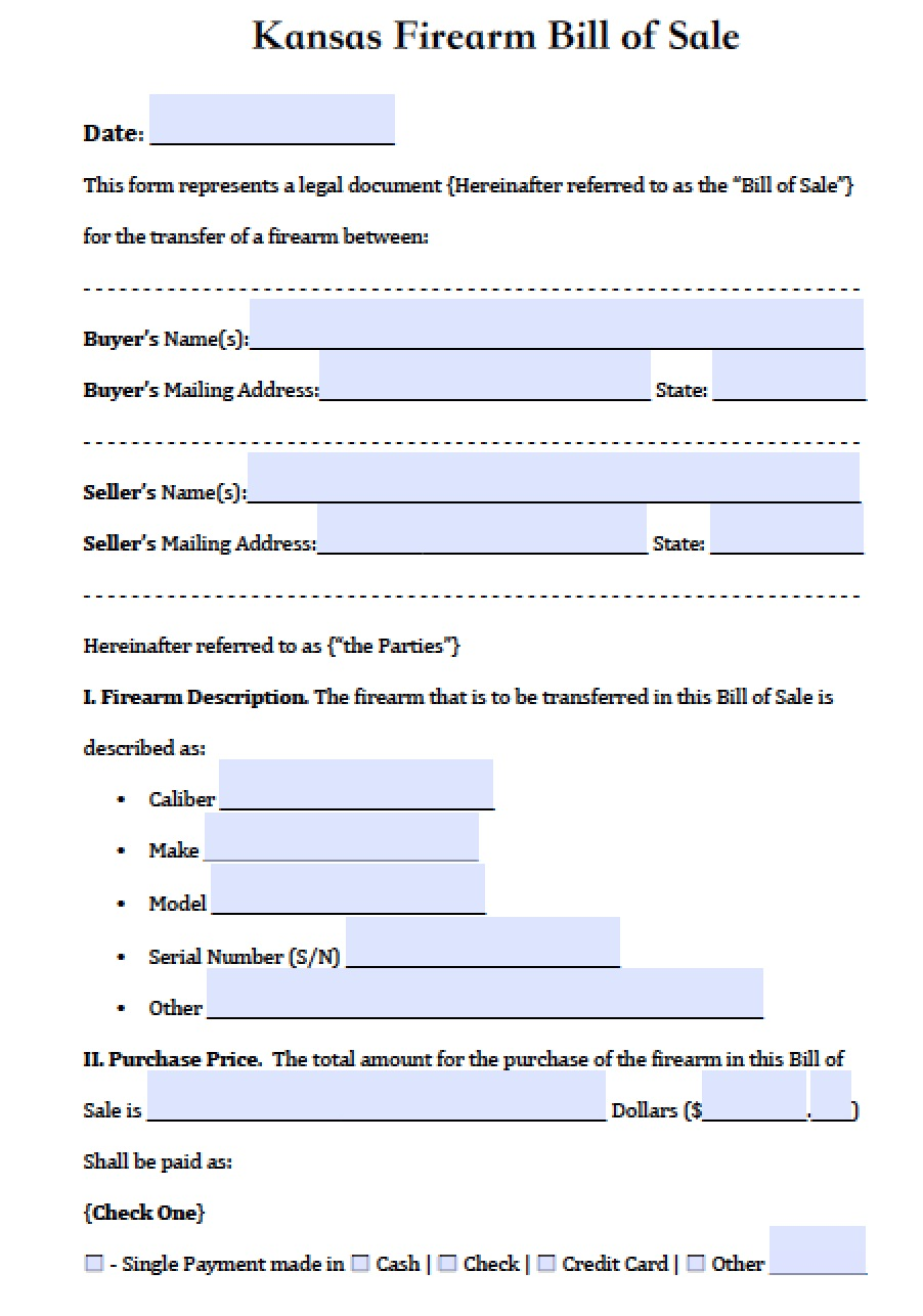 Free kansas firearm bill of sale form pdf word doc for Kansas motor vehicle records