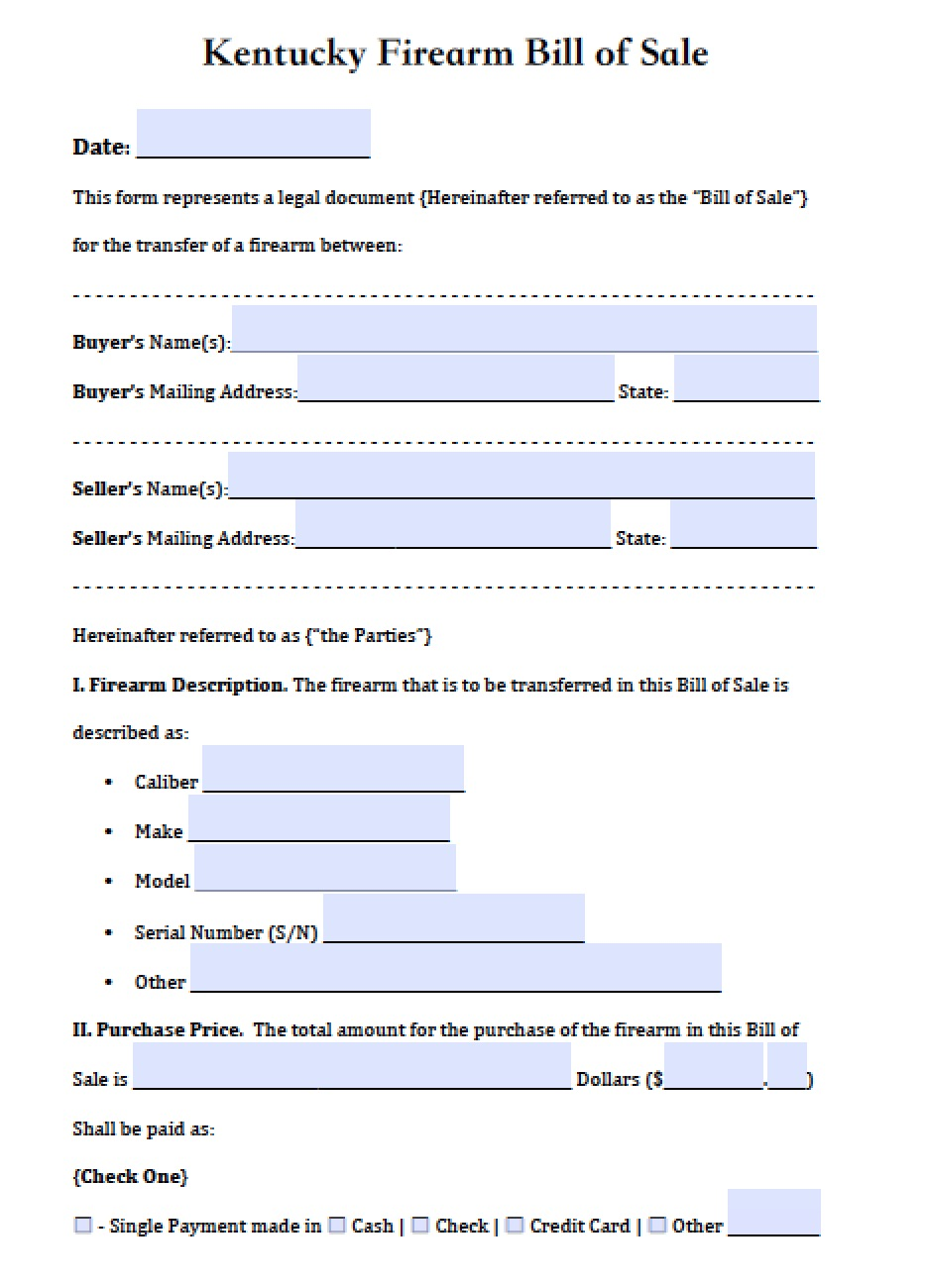 free louisiana firearm gun bill of sale form pdf word doc