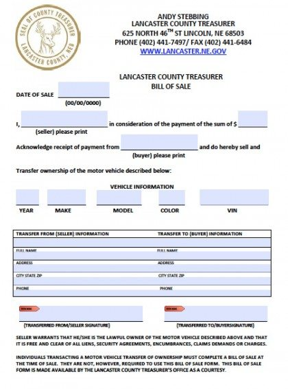 Lancaster County Bill of Sale