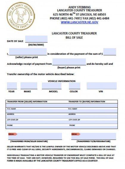 free printable vehicle bill of sale