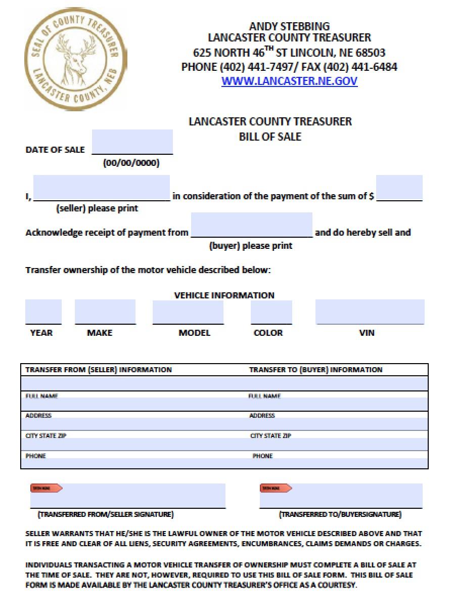 ... County, Nebraska Vehicle Bill of Sale Form | PDF | Word (.doc