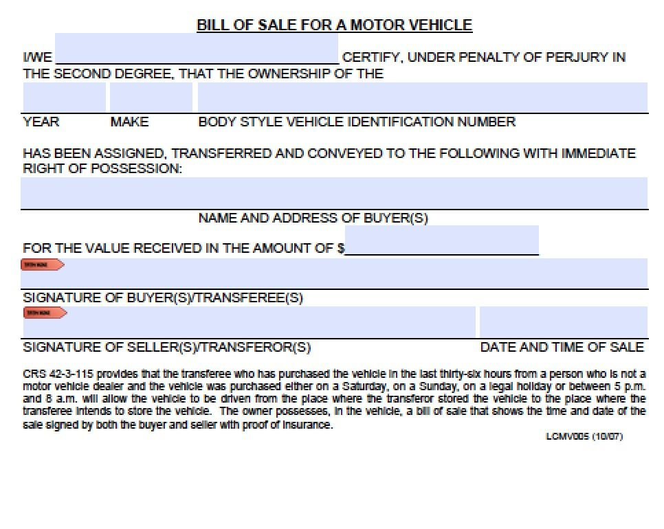 free colorado boat  trailer bill of sale form