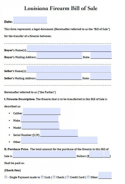 Free Louisiana Firearm/Gun Bill Of Sale Form | Pdf | Word (.Doc)