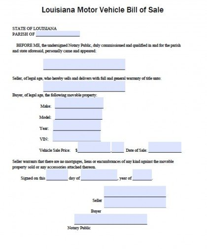 free louisiana dmv vehicle bill of sale form pdf word doc