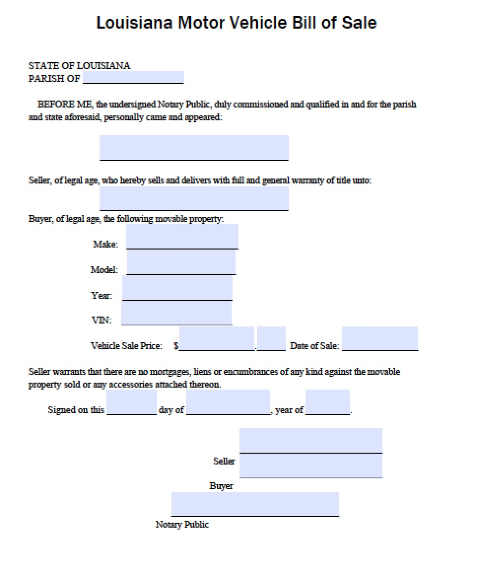 Free Louisiana DMV Vehicle Bill of Sale Form PDF – Bill of Sale Word Document