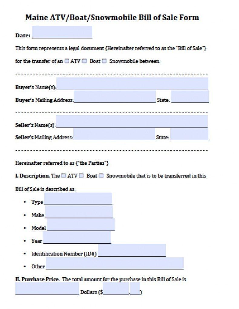 free maine atv boat snowmobile bill of sale form pdf word doc. Black Bedroom Furniture Sets. Home Design Ideas