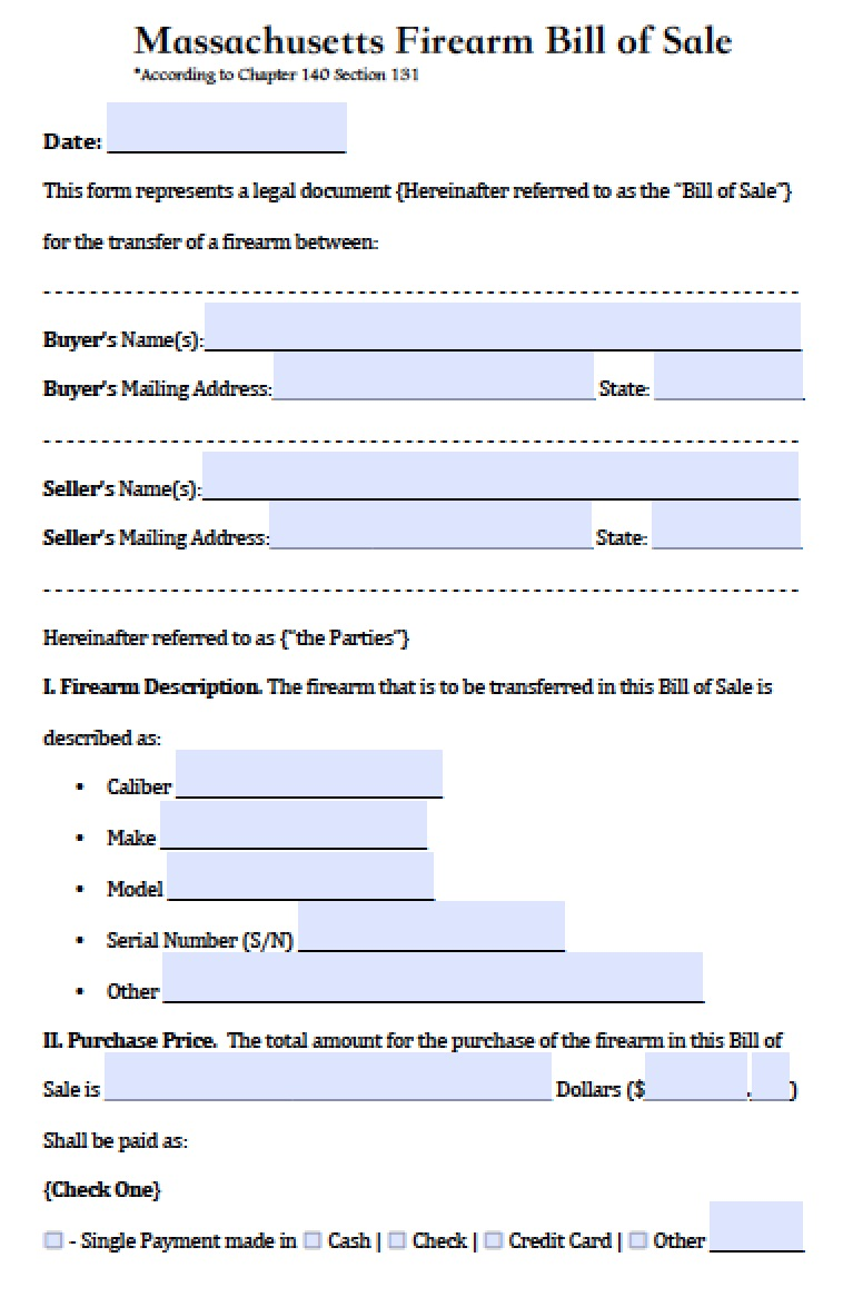 mass bill of sale  Free Massachusetts Firearm/Gun Bill of Sale Form | PDF | Word (.doc)