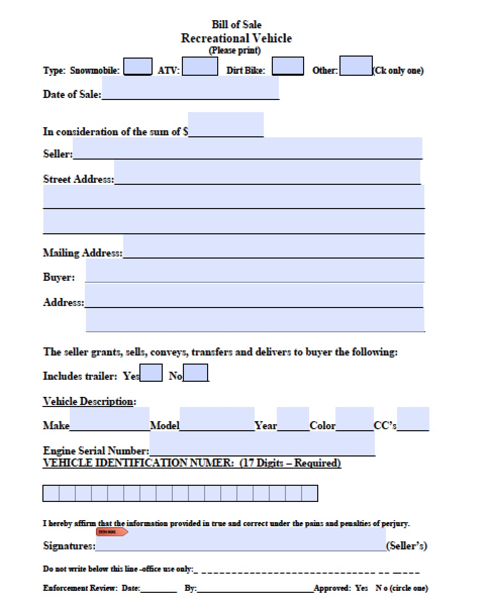 Free massachusetts atv snowmobile bike bill of sale form for Nh motor vehicle bill of sale template