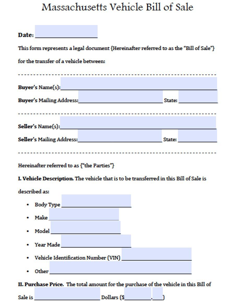 Free massdot rmv registry of motor vehicles auto bill of for Massachusetts registry of motor