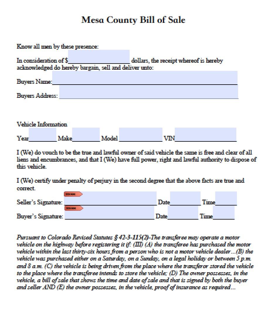 Colorado Vehicle Bill Of Sale: Free El Paso County, Colorado Vehicle Bill Of Sale Form