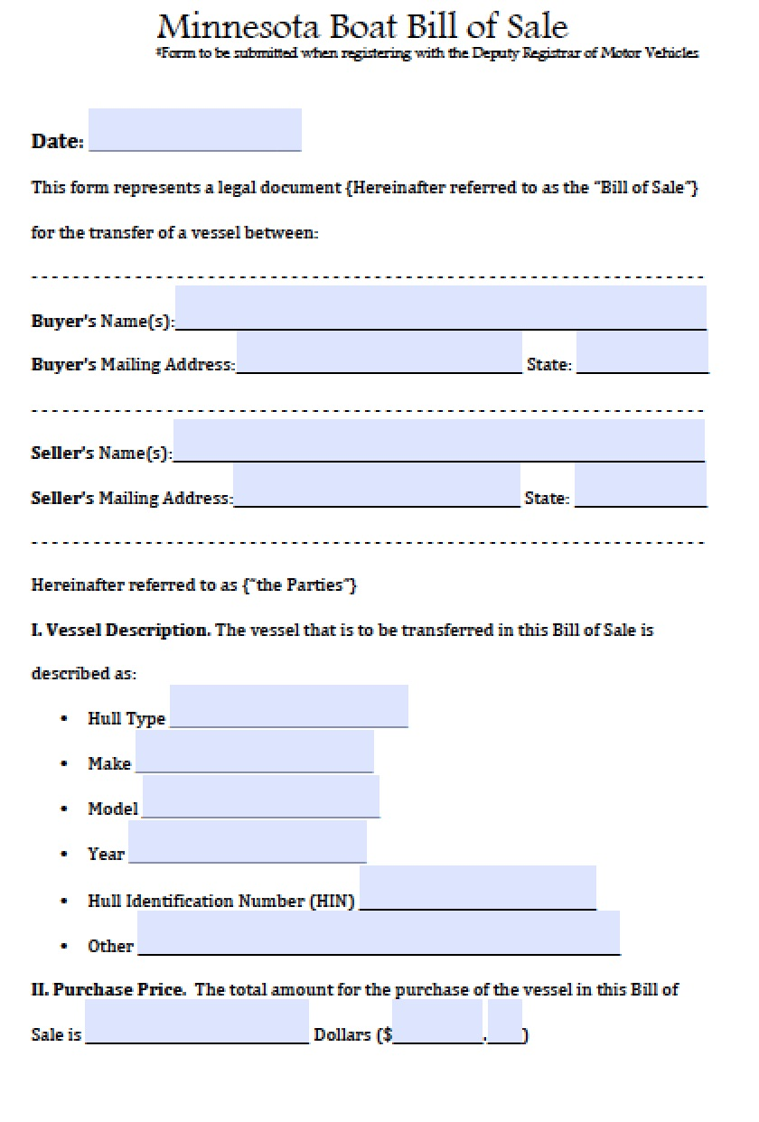 Bill Of Sale Template For Car Minnesota
