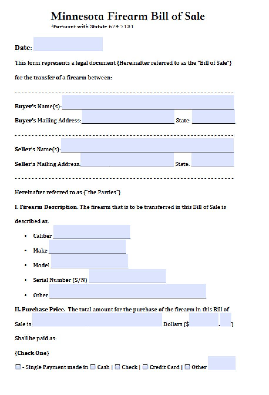 free minnesota firearm bill of sale form