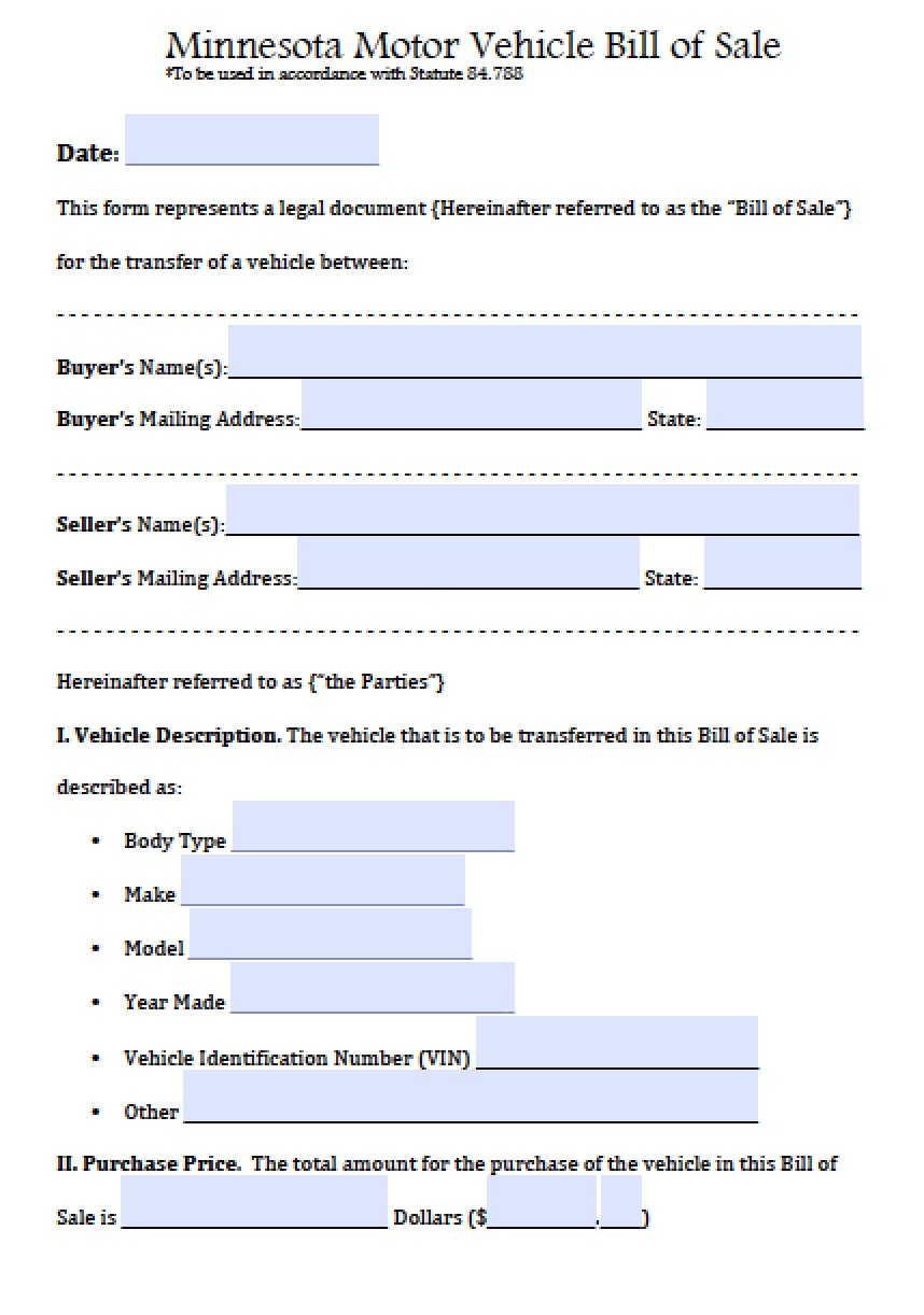 Free Minnesota Motor Vehicle Bill of Sale Form | PDF | Word (.doc)