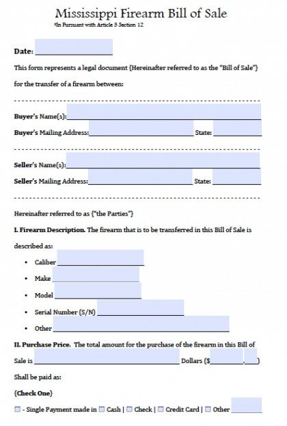 Free Mississippi FirearmGun Bill Of Sale Form PDF Word Doc - Legal forms mississippi