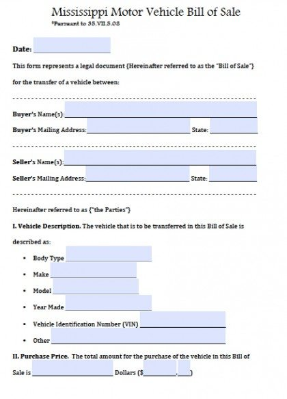 Free Mississippi Motor Vehicle Bill Of Sale Form    Word Doc