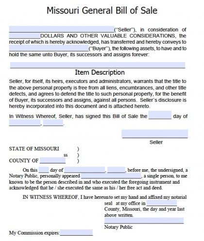 Free Missouri General Blank Bill Of Sale Form  Pdf  Word Doc
