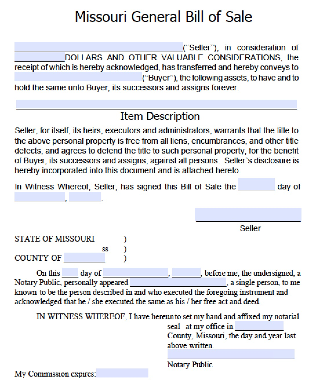 Missouri General Blank Bill Of Sale  General Bill Of Sale Form