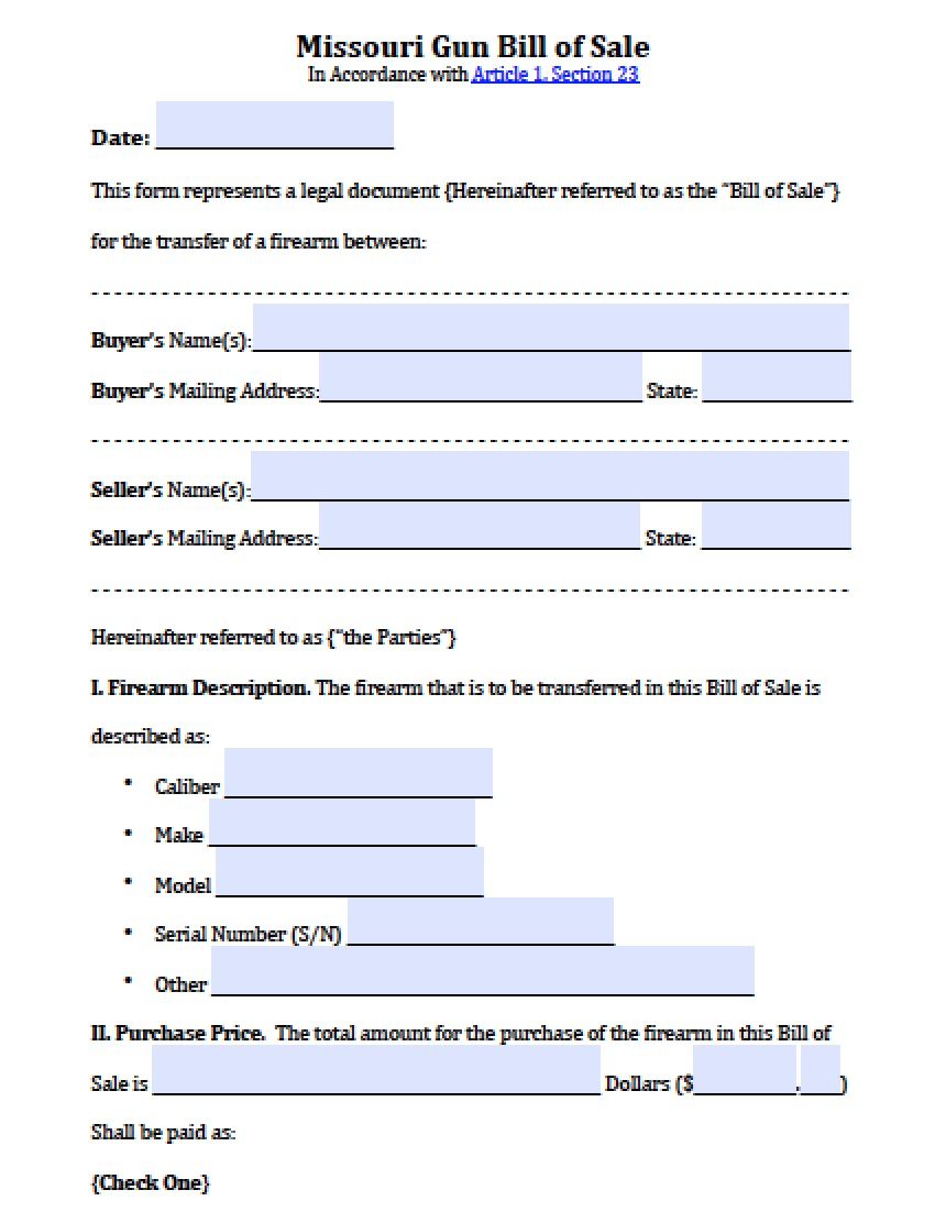 Free Missouri FirearmGun Bill of Sale Form PDF – Gun Bill of Sale