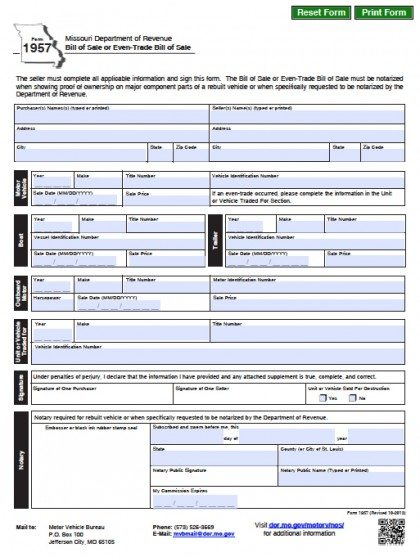 Free Missouri Dmv VehicleBoat Bill Of Sale Form  Pdf  Word Doc