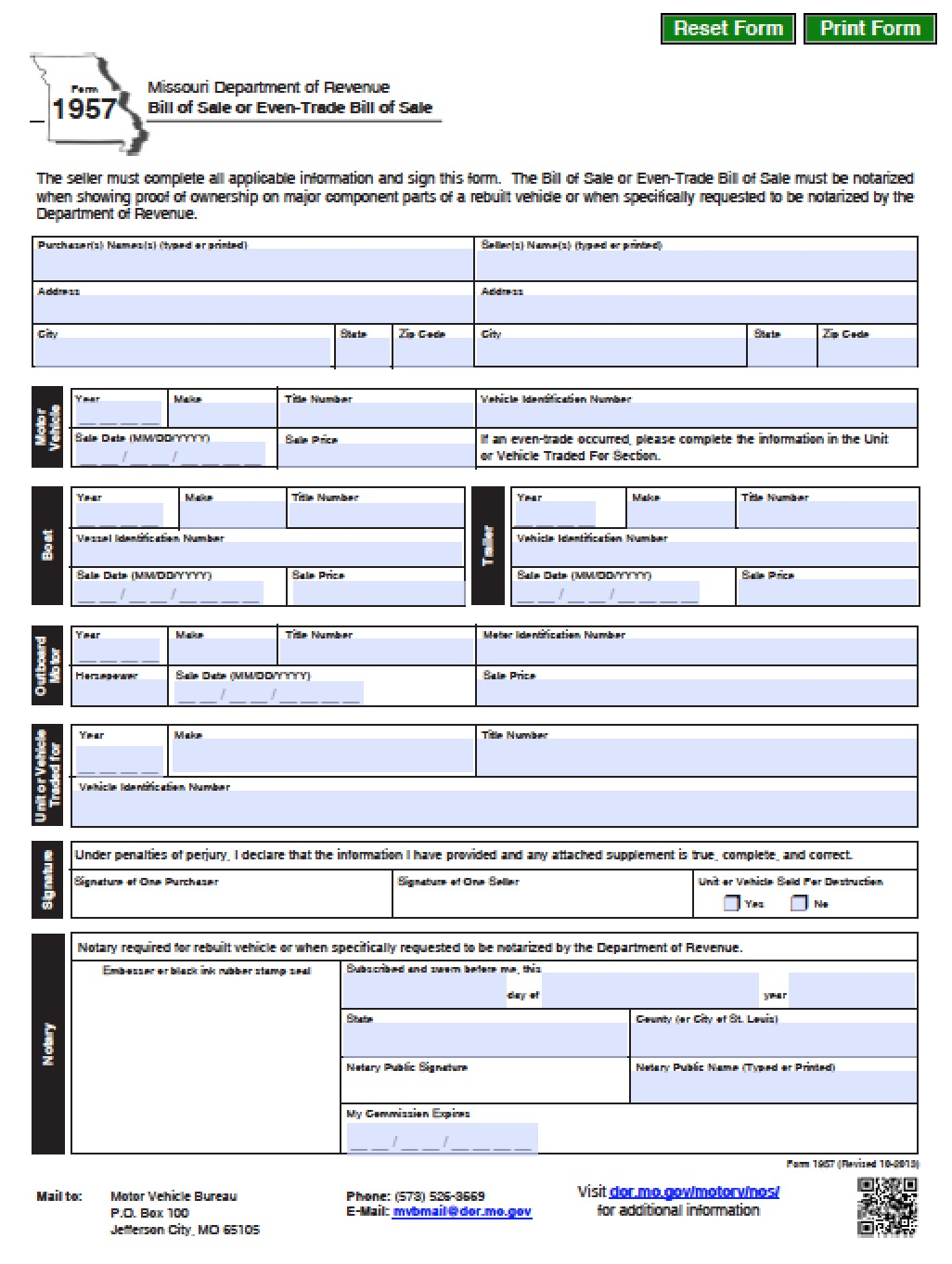 form 1957 Free Missouri DMV (Vehicle/Boat) Bill of Sale Form | PDF | Word (.doc)