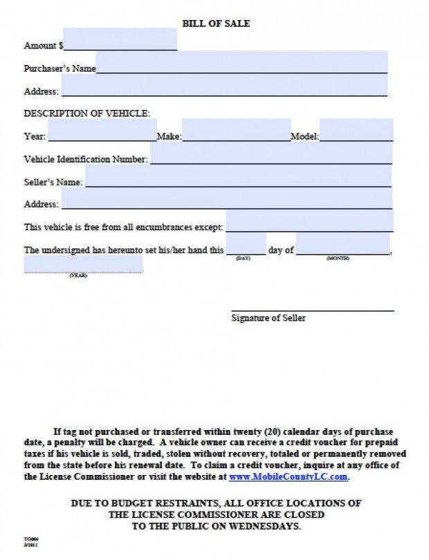 Free Mobile County Alabama Bill Of Sale Form Pdf Word