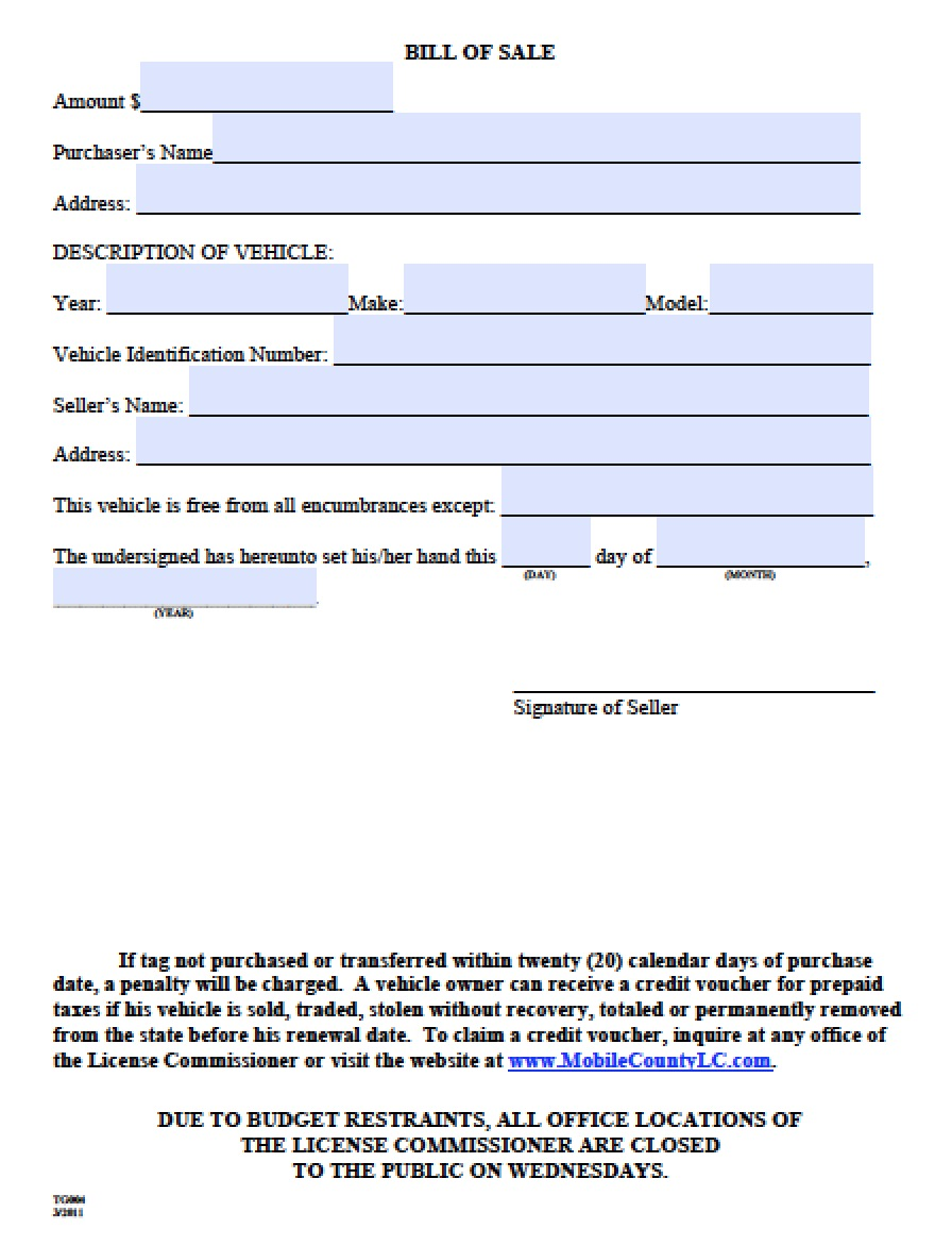Free Mobile County Alabama Bill Of Sale Form Pdf Word