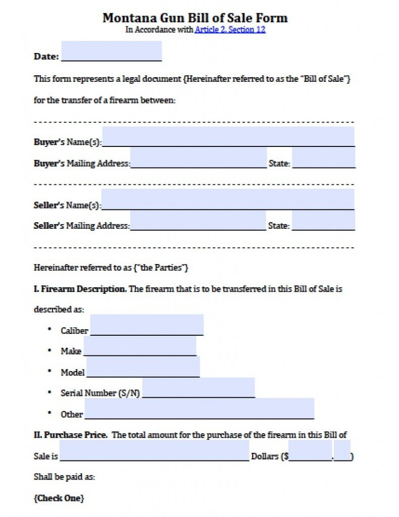 Free Montana Firearm/Gun Bill of Sale Form | PDF | Word (.doc)