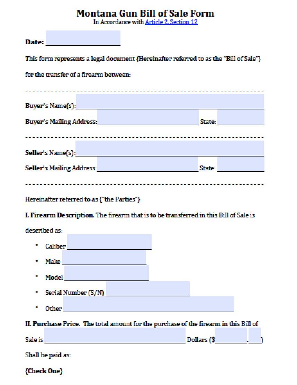 free montana firearmgun bill of sale form pdf word doc