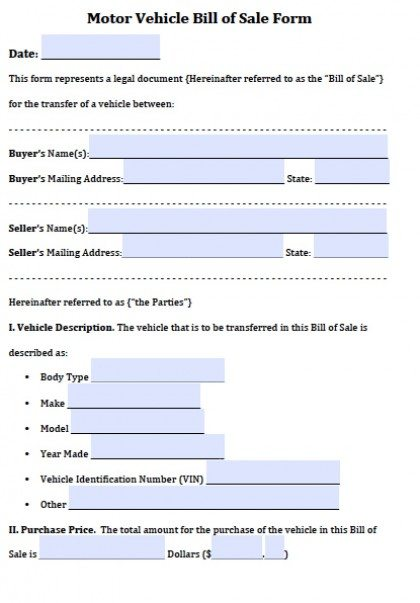 Motor Vehicle Bill Of Sale  Microsoft Office Bill Of Sale Template