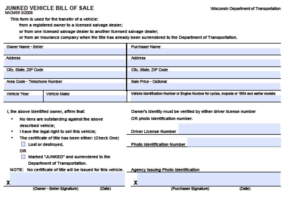 Free Wisconsin Junked Vehicle Bill Of Sale Mv2459 Form