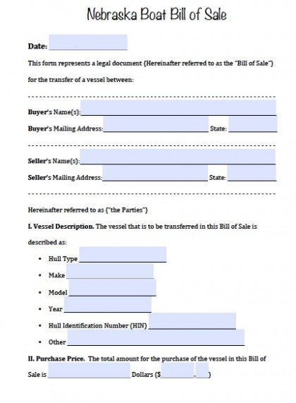 Free Nebraska Boat Bill Of Sale Form  Pdf  Word Doc