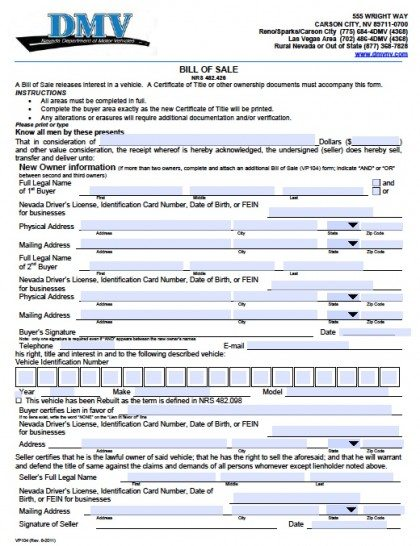 Free Nevada Dmv Vehicle Bill Of Sale  Vp Form  Pdf  Word Doc