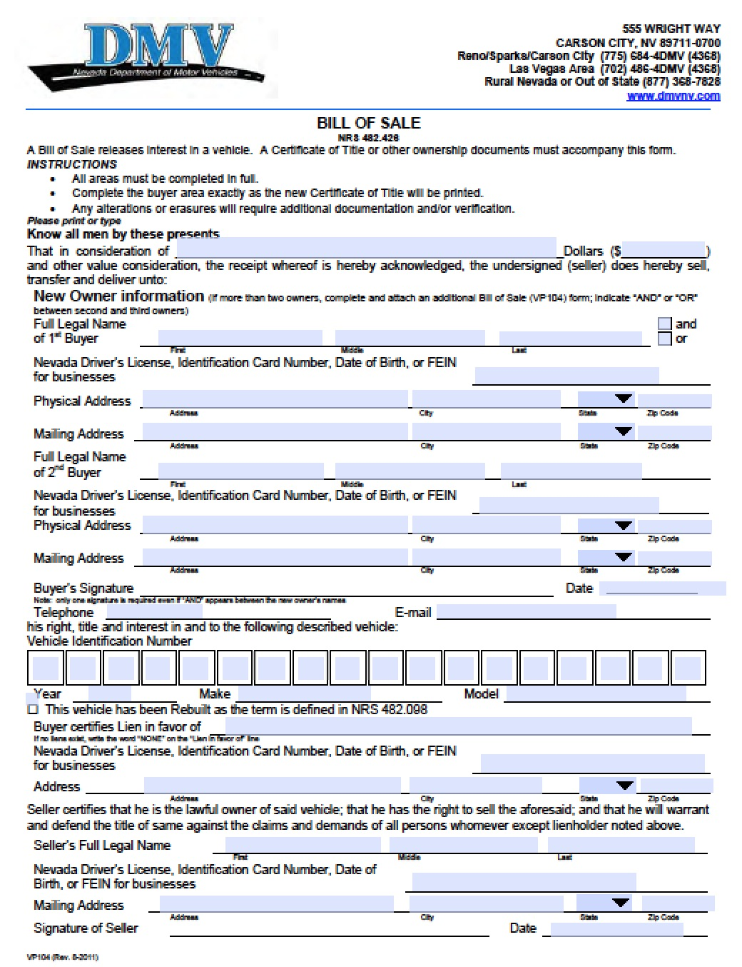 free nevada dmv vehicle bill of sale vp104 form pdf word doc