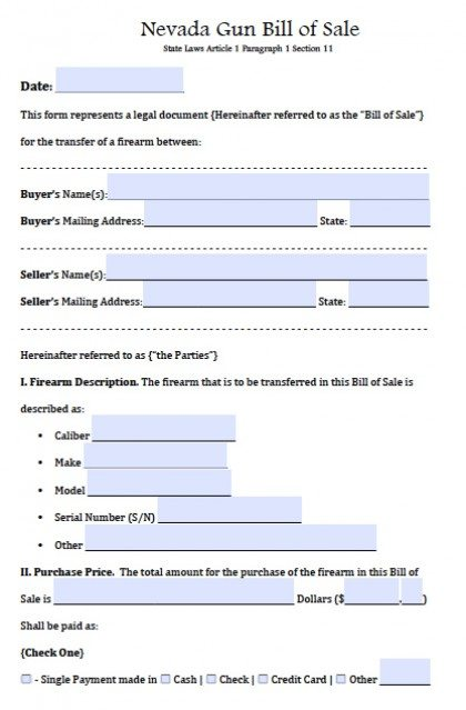 Free Nevada FirearmGun Bill Of Sale Form  Pdf  Word Doc