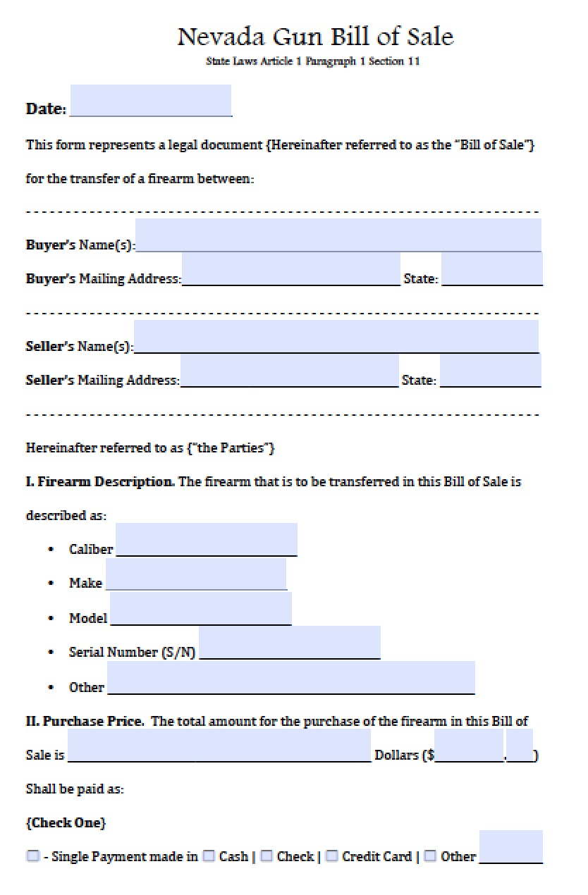 Free Nevada FirearmGun Bill of Sale Form PDF – Bill of Sale Word Document