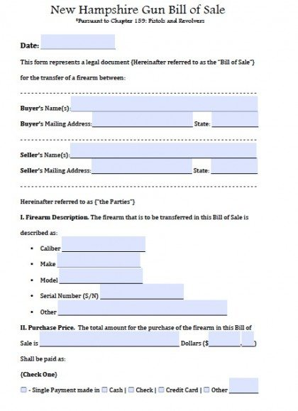 Free New Hampshire FirearmGun Bill Of Sale Form  Pdf  Word Doc