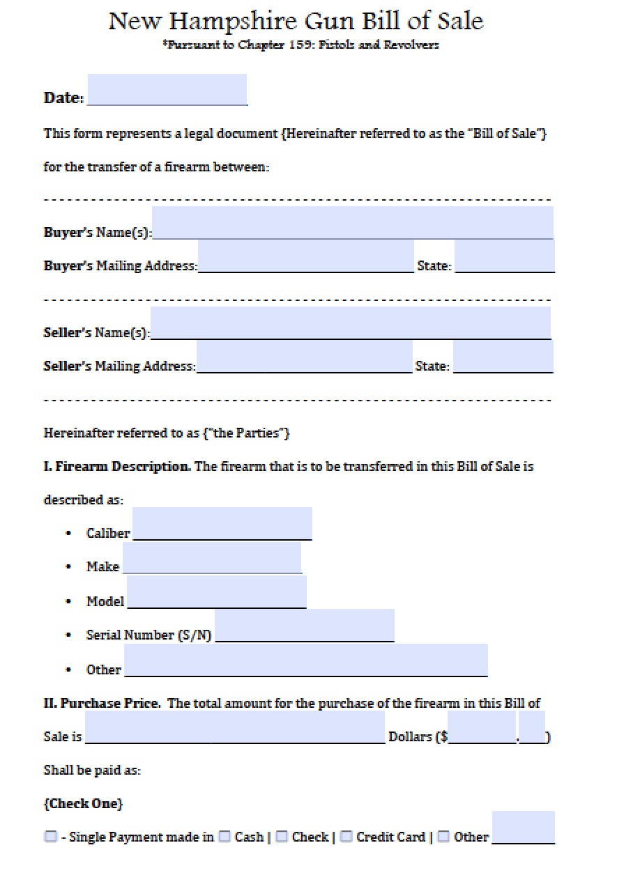 bill of sale template nh  Free New Hampshire Firearm/Gun Bill of Sale Form | PDF | Word (.doc)