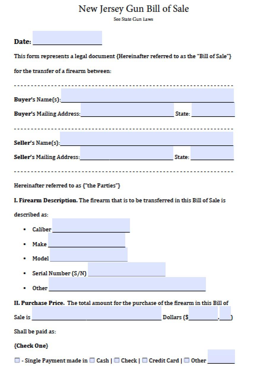 free new jersey firearmgun bill of sale form pdf word