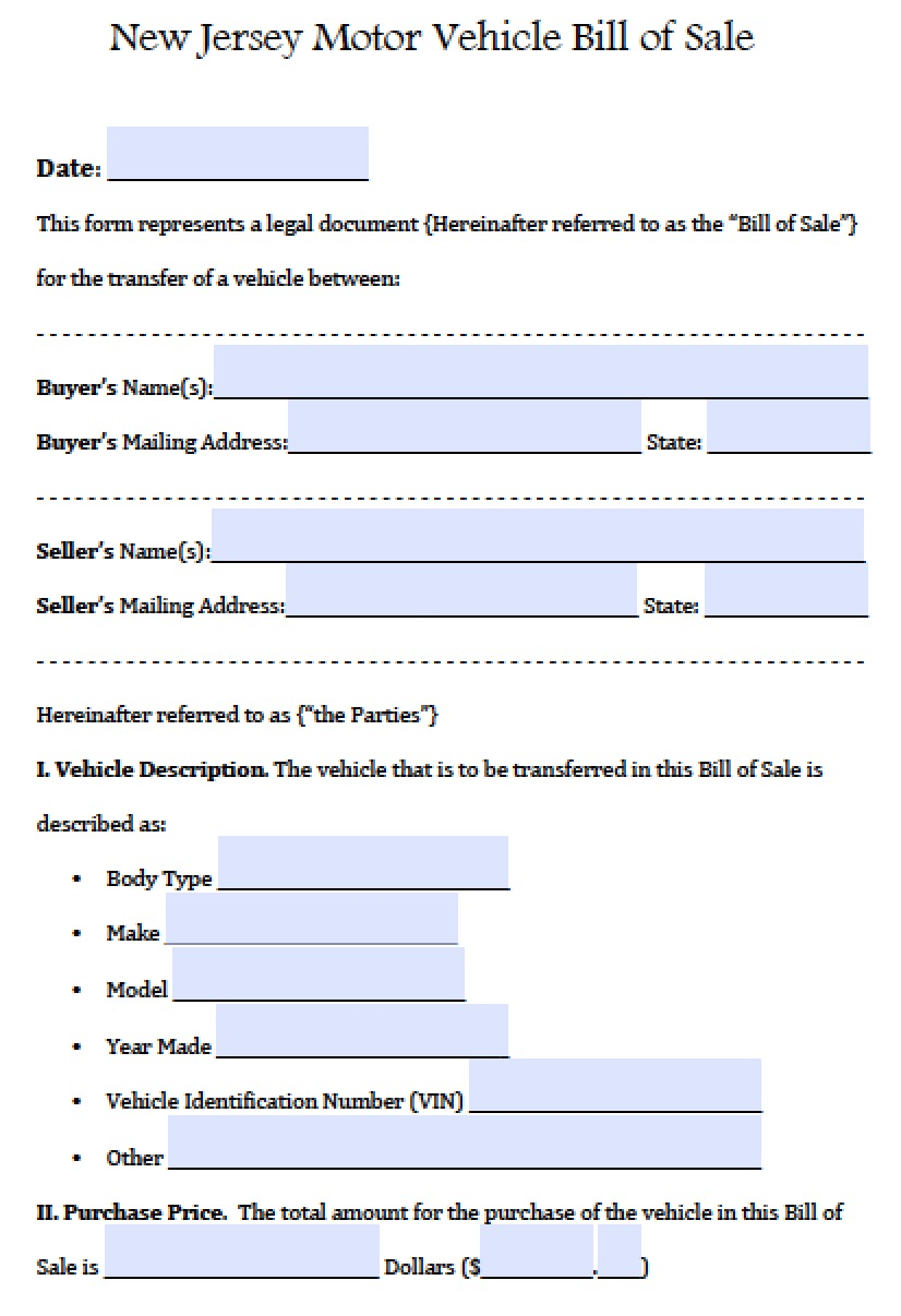 New Jersey Motor Vehicle (Car/Auto) Bill Of Sale