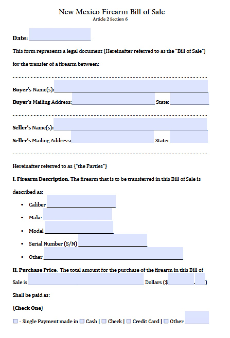 Free New Mexico Firearm Gun Bill Of Sale Form Pdf Word Doc