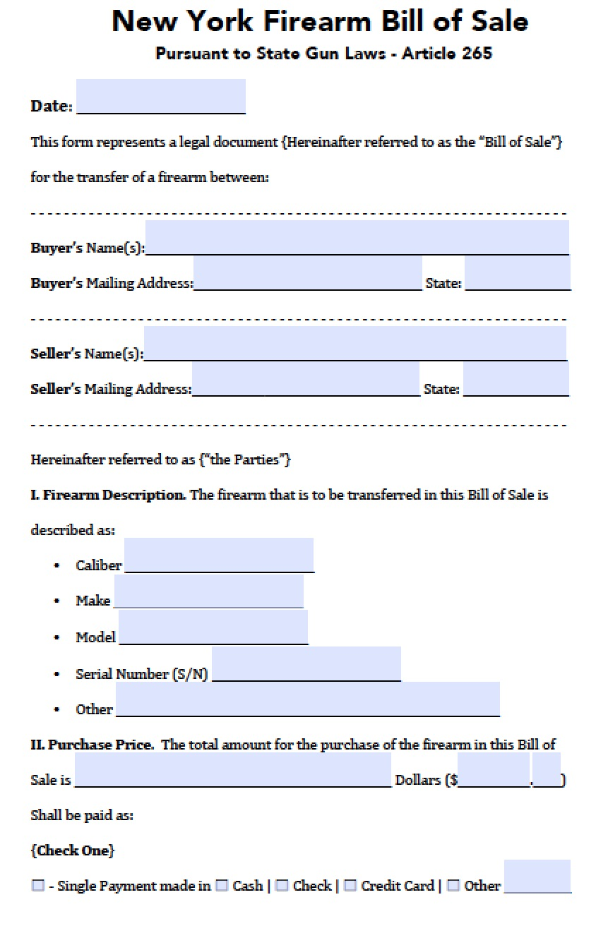 free new york firearm gun bill of sale form pdf word doc