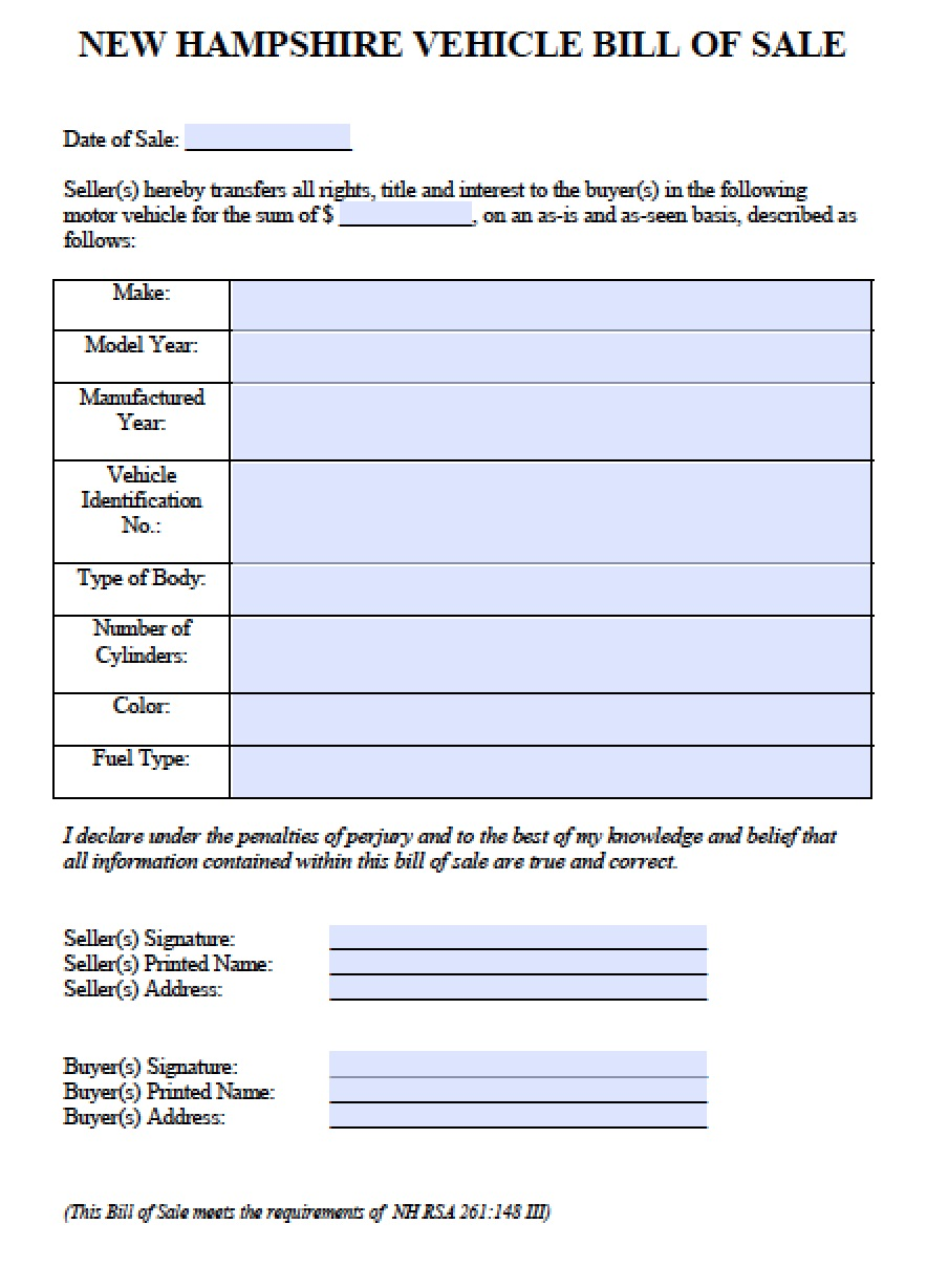 New Hampshire Car/Vehicle Bill Of Sale  Bill Of Sale Template Doc