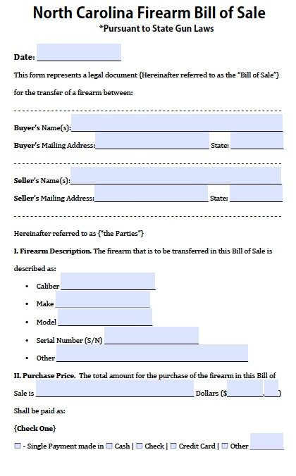 free north carolina firearm  gun bill of sale form