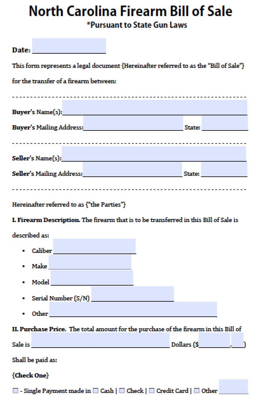 Car Bill Of Sale Nc Printable