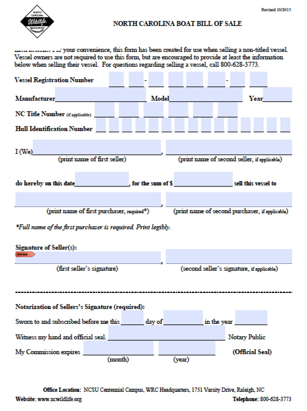 Free North Carolina Boat Bill Of Sale Form Pdf Word Doc