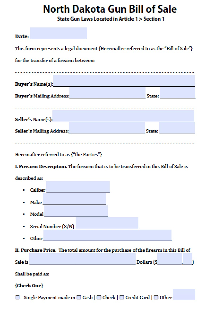 free north dakota firearm gun bill of sale form pdf word doc
