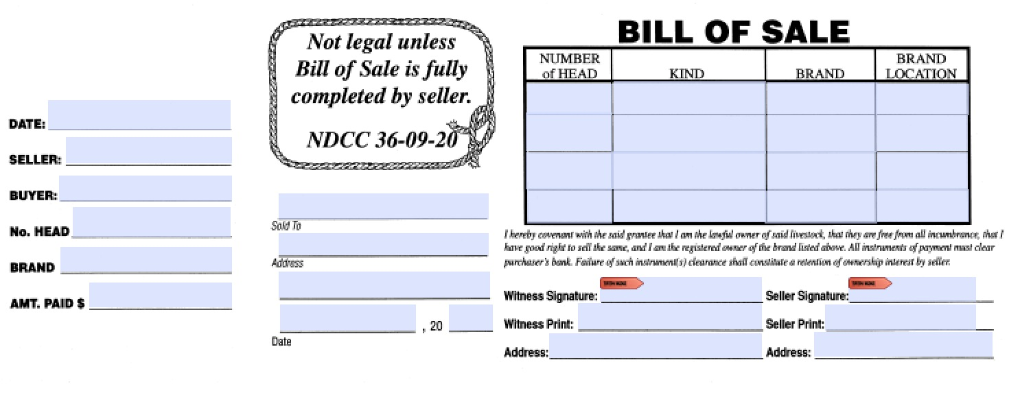 North Dakota Livestock Bill of Sale