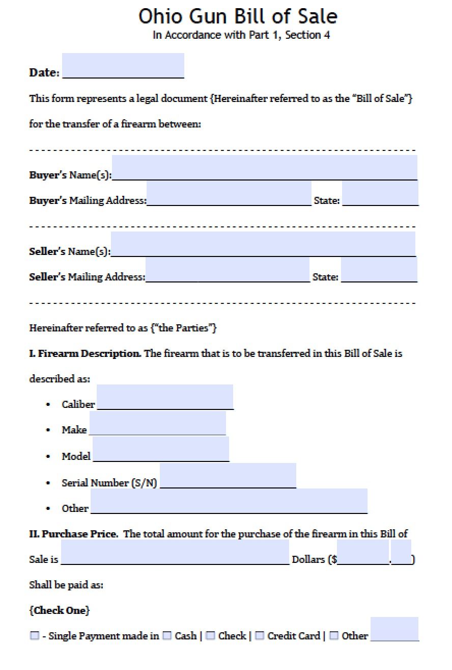 Free Ohio Firearm/Gun Bill of Sale Form | PDF | Word (.doc)