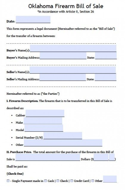 Free Oklahoma FirearmGun Bill Of Sale Form  Pdf  Word Doc