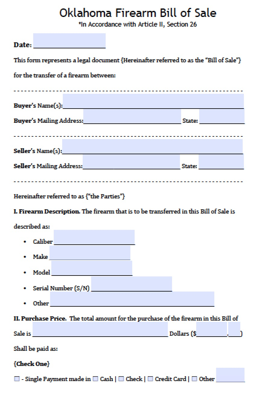 free oklahoma firearm gun bill of sale form pdf word doc